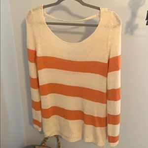 Striped sweater with scoop back